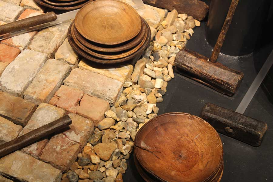 Ballast under the Galley oven, on display at The Mary Rose