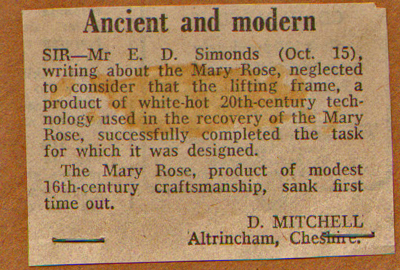Ancient and Modern - The earliest recorded mention of the Mary Rose sinking on her maiden voyage that we could find.