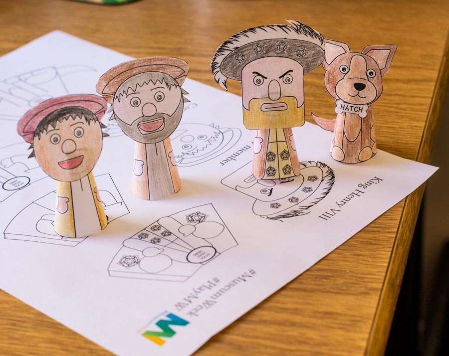 Mary Rose finger puppets of the crew, plus Henry VIII and Hatch!