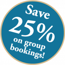 Save 25% on group bookings!