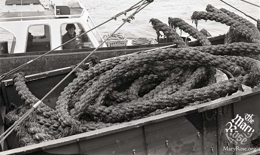 Rope freshly recovered from the seabed