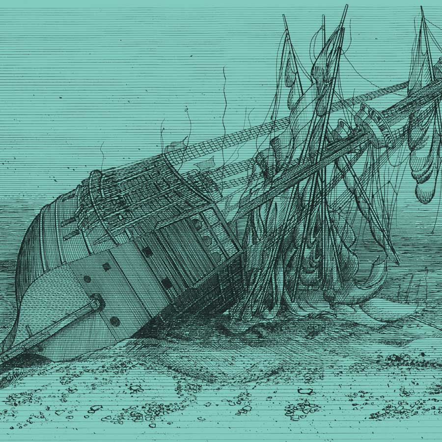 The Mary Rose on the sea bed in 1545